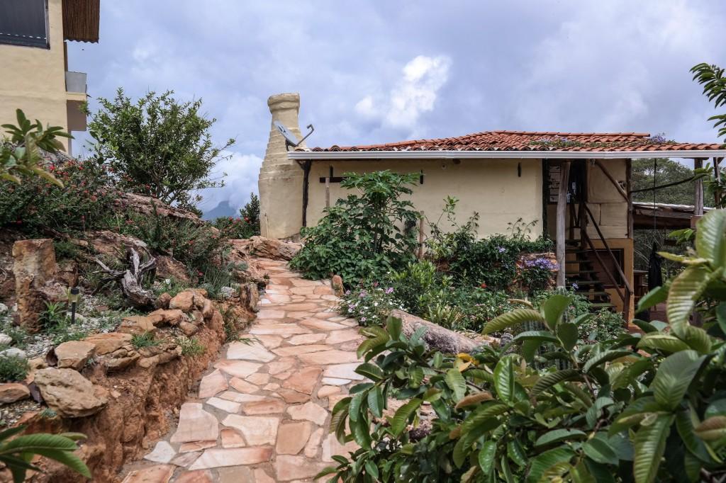 Gardens and stonework everywhere at The Refugio Roca