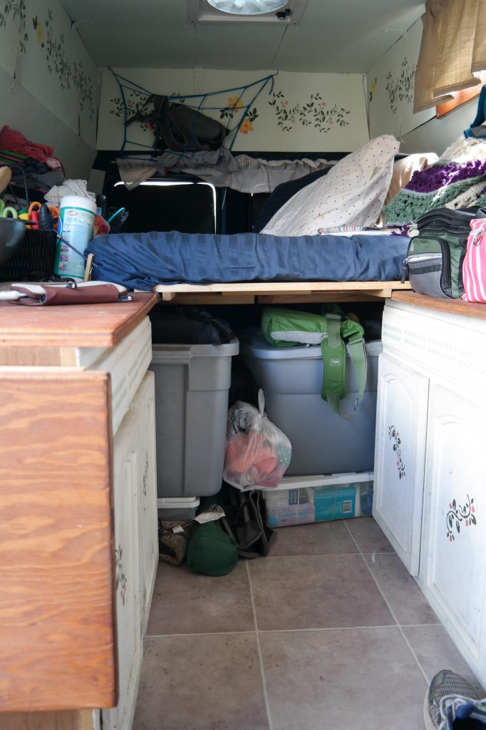 Tons of storage under the bed, goes all the way to the back