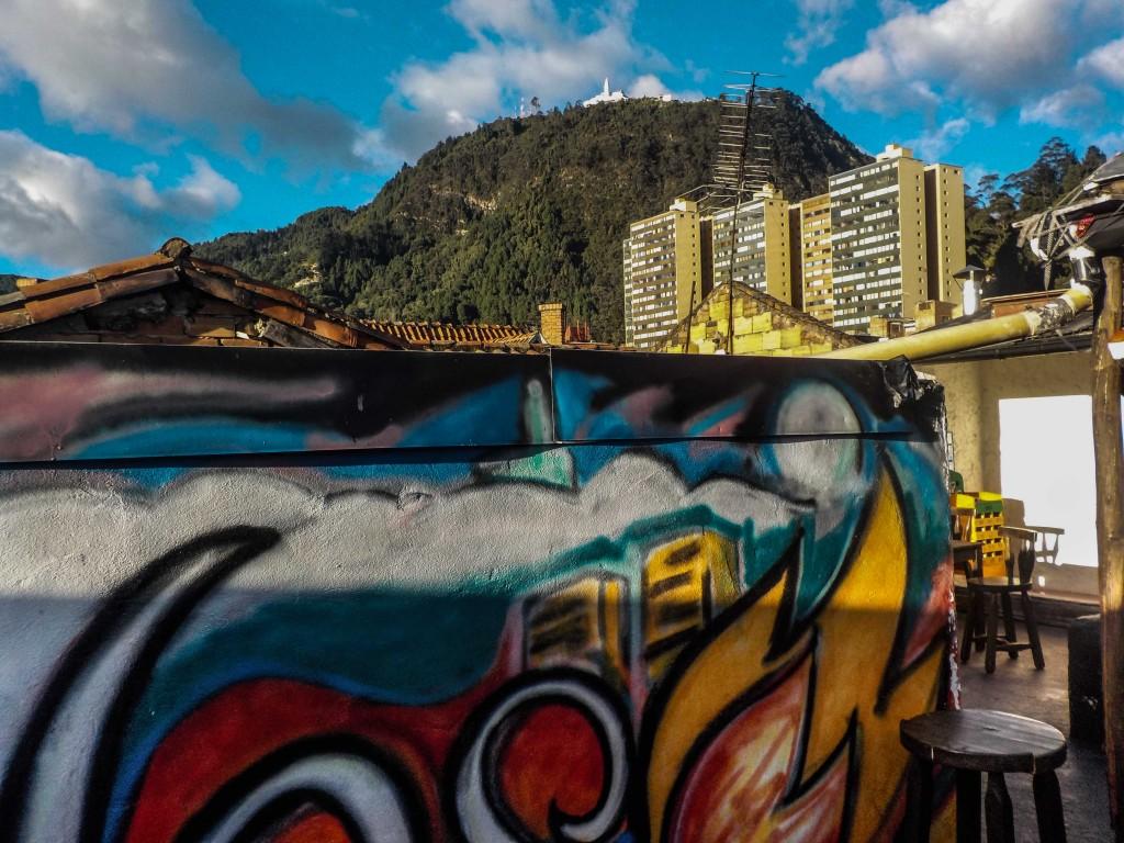 El cerro de Monserrate looms behind the city