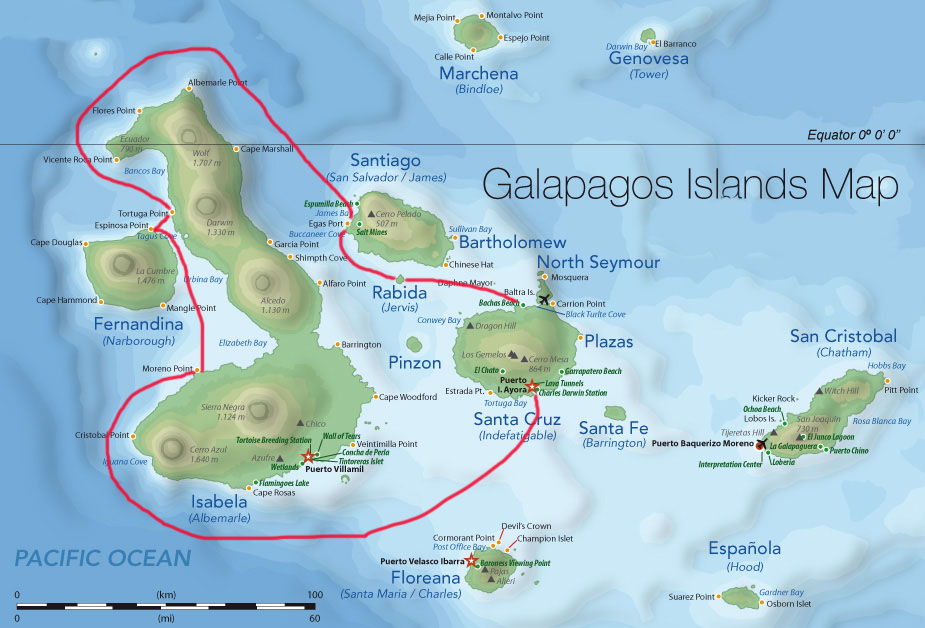 Galapagos map with our trip in red