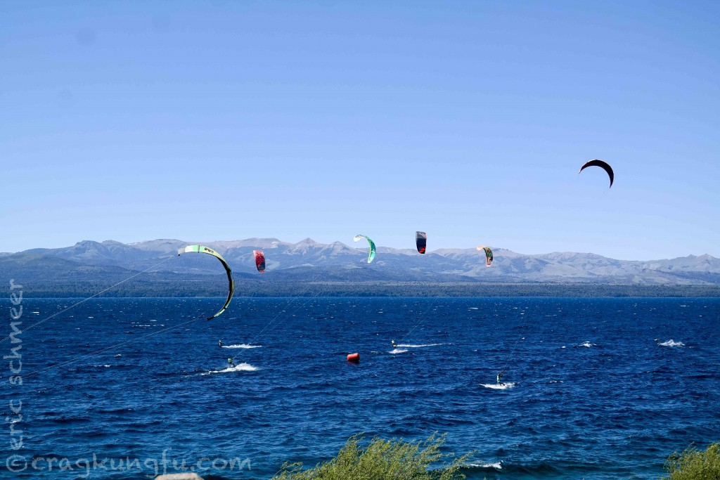 Windsurfers were out in numbers