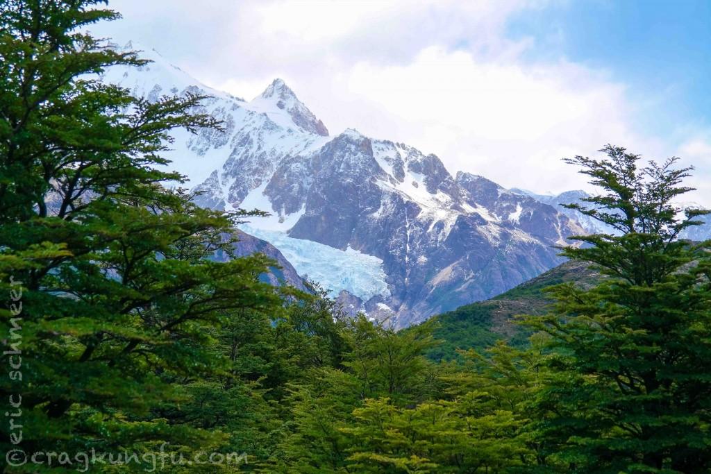 Glaciers creep in between the roughed peaks