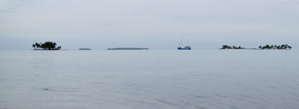 The Independence anchored, awaiting our return