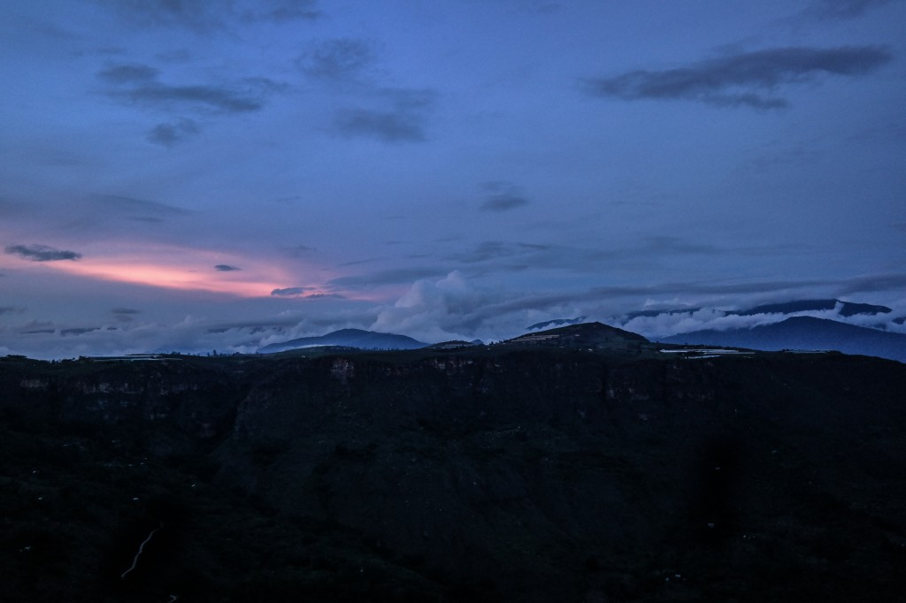 Cloudy mountain sunsets