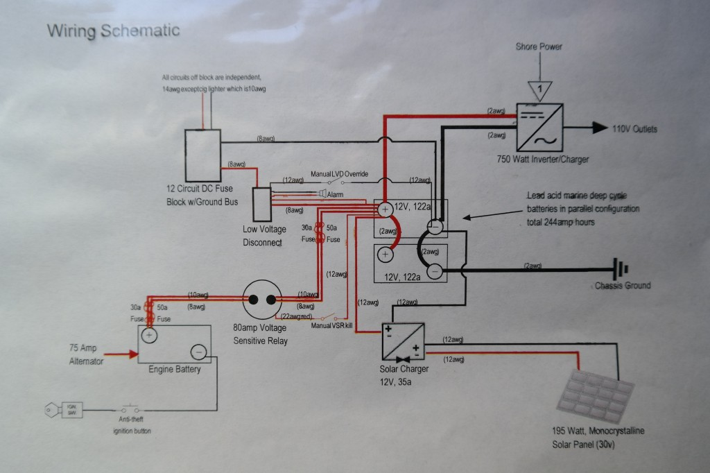 Detailed electrical schematic for house battery and charging system
