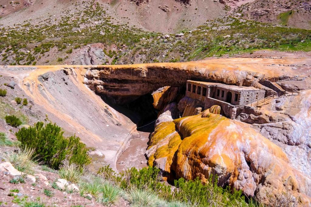 A natural bridge named the Inca Bridge after the ruins built underneath it