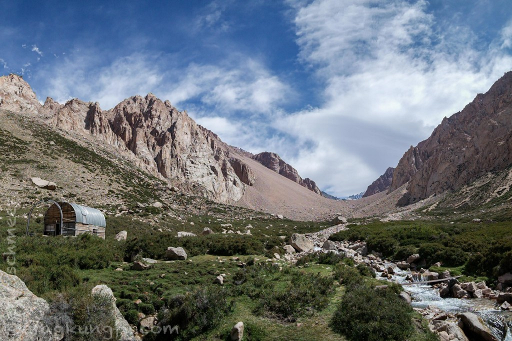 Looking up the valley from the refugio. Cohete is on the left
